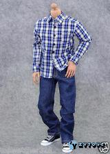 1/6 Action Figure Accessories-ZY Blue/White/Black Shirt + Blue Jeans Set