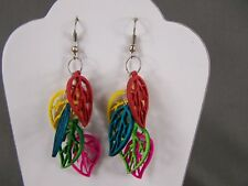 "leaf earrings colorful Multi color wood charm leaves dangle 3"" long lightweight"