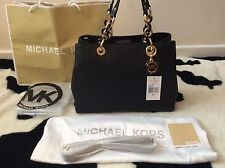 BNWT Michael Kors Medium CYNTHIA Black Saffiano Leather Satchel Bag��