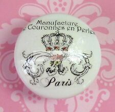 FRENCH PARIS Crown Scrolls Ceramic Knob Flowers cabinet Drawer Pull WORDS roses