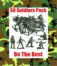 50 TOY MODEL ARMY SOLDIERS Plastic Figures Combat Platoon Party Filler Favour