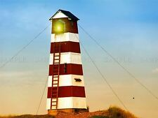 PHOTO ARCHITECTURE RED WHITE STRIPED LIGHTHOUSE BEACON POSTER PRINT BMP10769