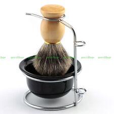 Professional Best Badger Hair Shaving Brush Black Bowl Stainless Steel Stand New