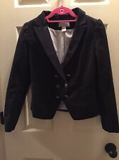 H&M Blazer 6 36 Military Nautical Style Puff 3/4 Sleeves