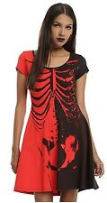 Nwt Iron Fist Ash Costello Red Black Skeleton Bat Royalty Dress Large Goth Punk