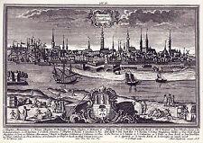 AK: Johann Georg Ringle - Ansicht des Hafens mit Wappenkartusche