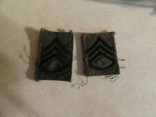 MILITARY PATCH US ARMY CLOTH RANK SET OF 2 STAFF SERGEANT E-6 SEW ON COLLAR