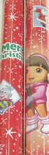 DORA THE EXPLORER RED CHRISTMAS HOLIDAY GIFT WRAP 2 ROLLS =40 SQ FEET SHIPS FREE