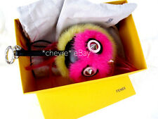 AUTHENTIC FENDI BIRD MOHAWK MONSTER BUG BUGGIE CHARM KEYCHAIN KEY CHAIN OWL PINK