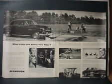 1951 Plymouth Car Safety-Flow Ride Double Page Vintage Print Ad 11126