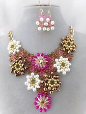 Pink Brown Bead Pearl Flower Bib Necklace Earrings Set Gold Fashion Jewelry NEW