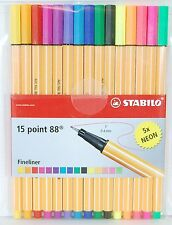 Stabilo 15 Point 88 Fineliner Markers Pens 0.4 mm 5x neon 8815-1 Made In Germany