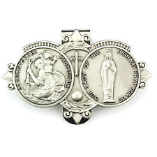 Visor Clip St. Christopher & Lady Highway Medals Slv Pewter Vintage Car Catholic