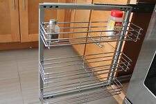 """Spice Rack- In-cabinet Pull Out 3 Shelves 5.5"""" Wide Wall Mounted- Polish Chrome"""