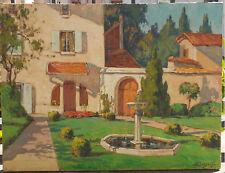 Villa sur la Côte d'Azur, huile sur toile signée