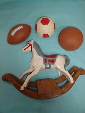 Homco wall plaque sports  balls  Retired & rocking horse child's room decor