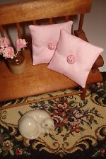 """Lot of 2 -  1 1/2 """" Throw Pillows Dollhouse Pink w/ Pink Rosette"""