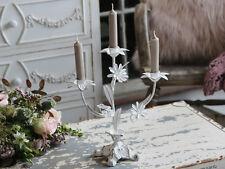Chic antique französischer Kerzenleuchter weiß