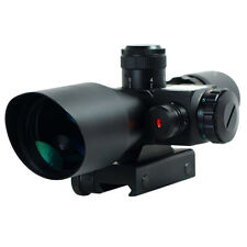 Stock 2.5-10x40 Rifle Scope Red Laser Dual illuminated Mil-dot w/ Rail Sight NEW