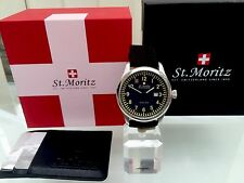 *ROTARY* MEN'S ST MORITZ BLACK CANVAS STRAP MILITARY SWISS MADE WATCH RRP£299
