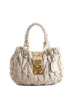 Miu Miu Ivory Leather Ruffled Two Handle Handbag BP4749MIU MHL