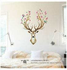Retro Wall Sticker Sika Deer Birds Flower Tree Mural Vinyl Art Decal Home Decor