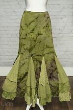 Per Una Long Green Lagenlook Flippy Hem Maxi Skirt 8 8L Steampunk Victorian NEW