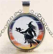 Witch and  Black Cat Cabochon Glass Tibet Silver Chain Pendant Necklace