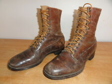 Vintage Circa 1930's Brown Leather BERGMANN SHOE MFG CO. Ankle Boots Sz-9D USA