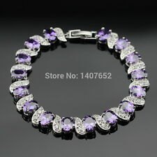 Silver, Purple Amethyst And White Topaz 11ct Tennis Bracelet Adjustable 7-8 inch