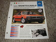 Italy 1975-1981 Lancia Monte Carlo Hot Cars Group 3 # 48 Spec Sheet Brochure