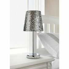 New Sparkle Collection Metallic Glitter Table Lamp Silver With Chrome Stand