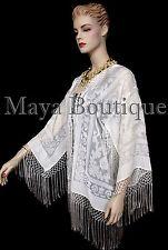 Ivory Short Fringe Coat Jacket Kimono Silk Burnout Velvet Maya Matazaro USA Made