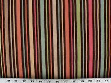 Drapery Upholstery Fabric Alternating Woven and Velvet Stripes - Tango