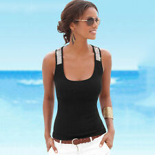 Womens Scoop Neck Vest Sequin Sleeveless Blouses Casual Tank Beach Tops T-Shirt