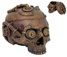 Steampunk Antique Skull Jewelry Box Statue Home Decor.Clockwork Gear.Steam-Punk