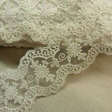 1 Yds VTG Style Embroidery Scalloped  Fabric Tulle Mesh Net Lace Trim 7.5cm WD