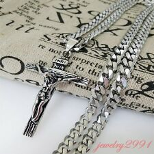 men's retro stainless steel big cross pendant with chain matching silver tone