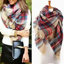 Winter Women Warm Pashmina  Wool Blanket Tartan Scarf Wrap Shawl Plaid Checked
