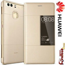 Custodia Originale Per Huawei P9 PLUS S View Cover GOLD Flip Case Slim in Pelle
