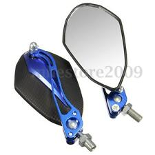 Pair Universal Motorcycle Blue Rear Side View Mirrors 10mm 8mm For Yamaha Suzuki
