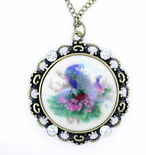 vintage retro style resin peacock pendant necklace