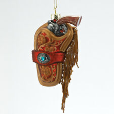 J1421 Western Hand Gun in Holster Glass Christmas Ornament Wild West NRA Rifle