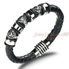 Fashion Men's Stainless Steel Silver Genuine Leather Lion Woven Bangle Bracelet