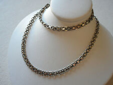 "Sterling Silver 18"" Italian Flat Interlocking Box Chain Necklace  RE2076"