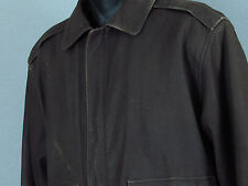 Men's ORVIS Fly Fishing Schools Brown Leather Bomber Jacket + Satin Lined - M