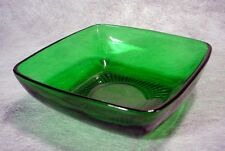 """Vintage ANCHOR HOCKING Charm FOREST GREEN GLASS Dessert 4-3/4"""" Berry Bowl AH Old"""