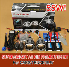 "3.0"" Universal Car Headlights HID Bi-Xenon Projector Lens Kit Halo Angel Eye 55W"