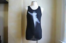 ANN DEMEULEMEESTER SOFT LIGHTWEIGHT HUMMINGBIRD PRINT BLACK TANK TOP T SHIRT S M