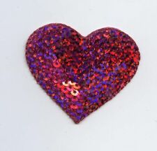 Iron-On Applique Embroidered Patch Valentines Hot Pink Sequin Heart
